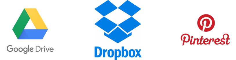 drive dropbox and pinterest logos