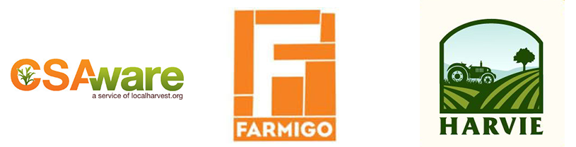 csaware farmigo and harvie logos